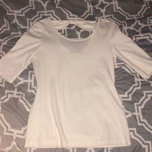 White Quarterlength Shirt with Bow Back
